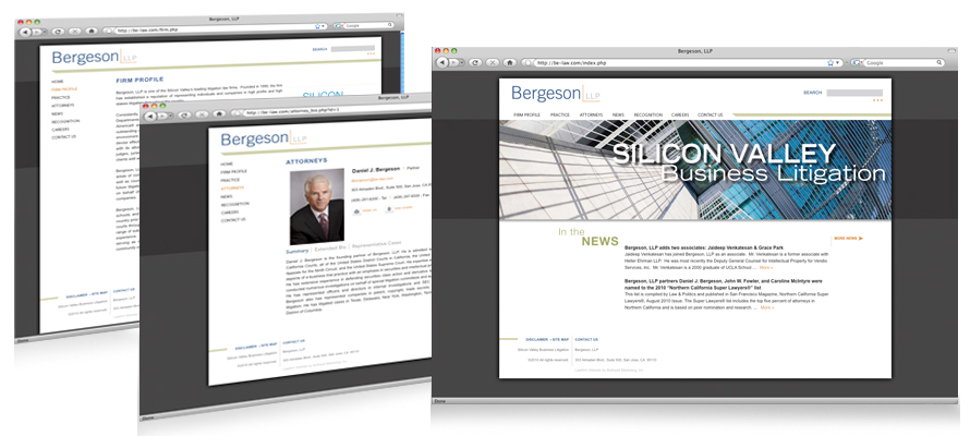 Law firm web design, development, seo and content management for Bergeson LLP