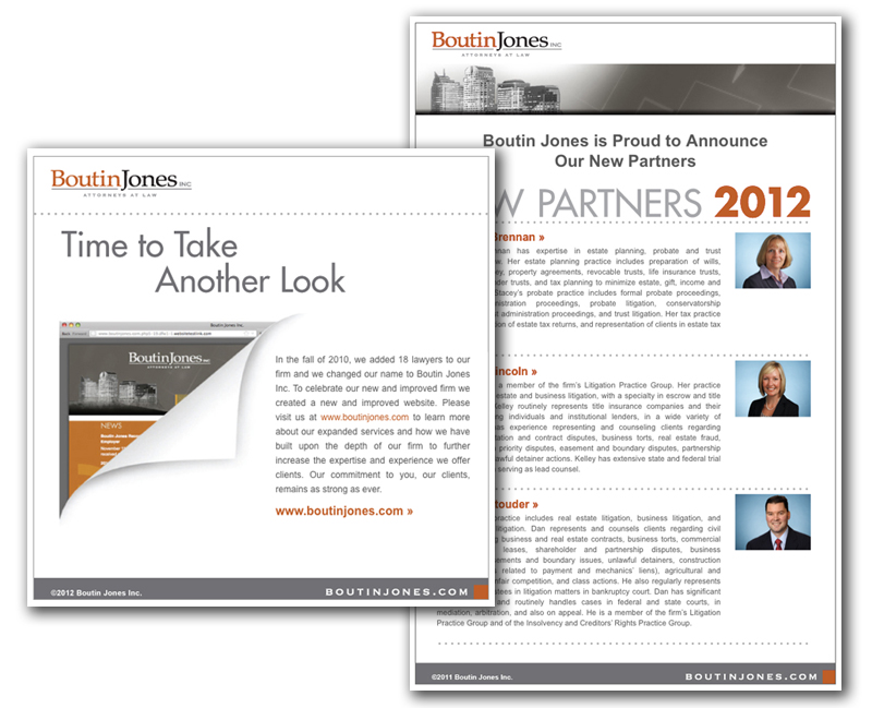 Law firm web design, development, seo and content management for Boutin Jones Inc.