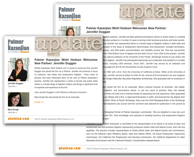Law firm web design, development, seo and content management for Palmer Kazanjian