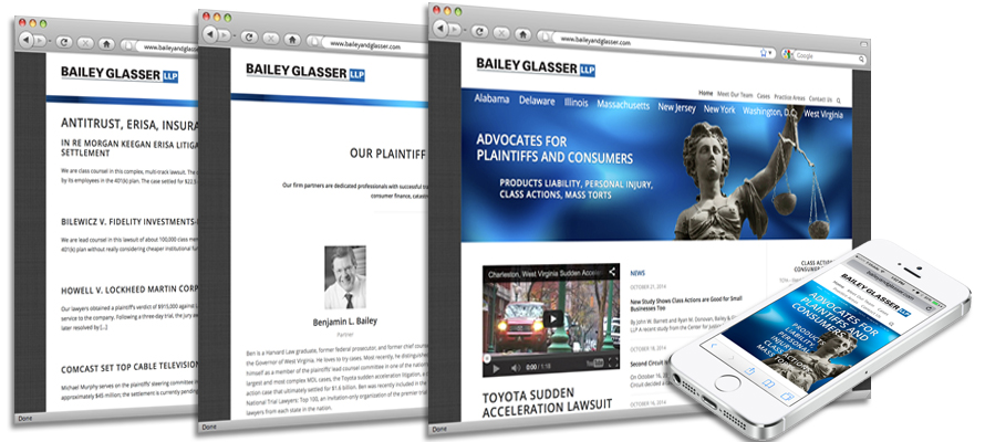 Law firm web design, development, seo and content management for Bailey Glasser (Class Action)