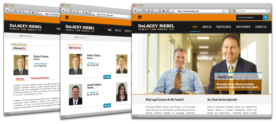 Law firm web design, development, seo and content management for Delacey and Riebel