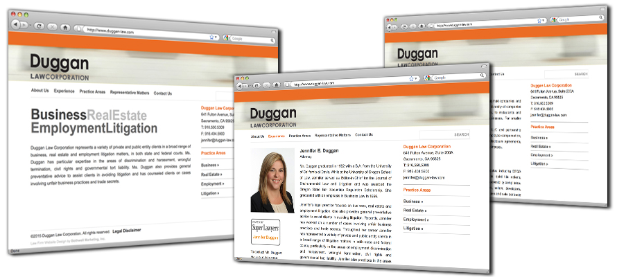 Law firm web design, development, seo and content management for Duggan Law