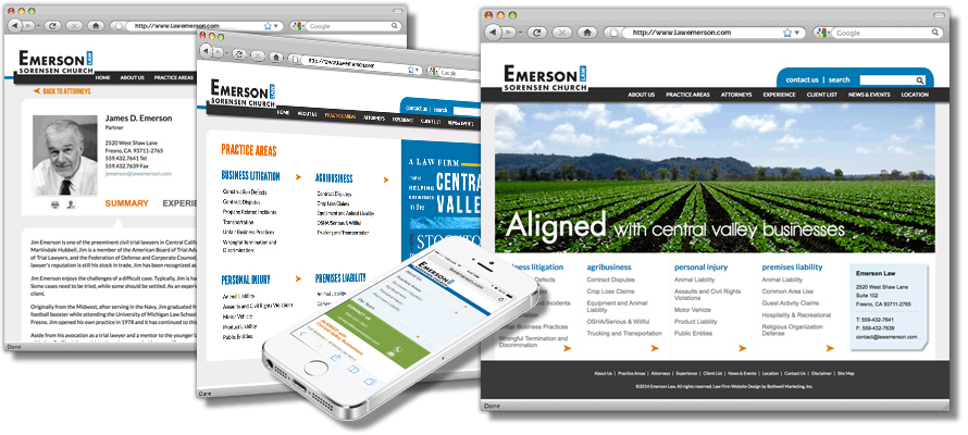 Law firm web design, development, seo and content management for Emerson Law