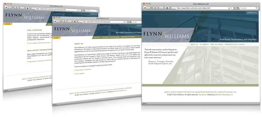 Law firm web design, development, seo and content management for Flynn Williams LLP
