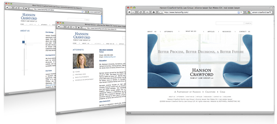 Law firm web design, development, seo and content management for Hanson Crawford Crum