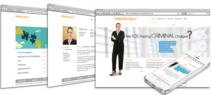Law firm web design, development, seo and content management for Kresta Daly
