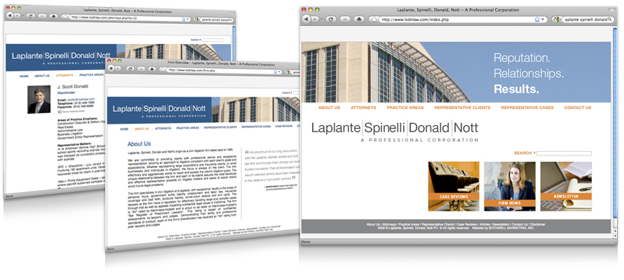 Law firm web design, development, seo and content management for Spinelli Donald & Nott