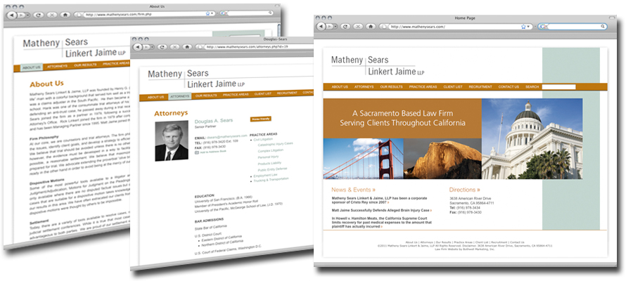 Law firm web design, development, seo and content management for Matheny Sears Linkert & Jaime LLP