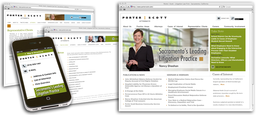 Law firm web design, development, seo and content management for Porter Scott