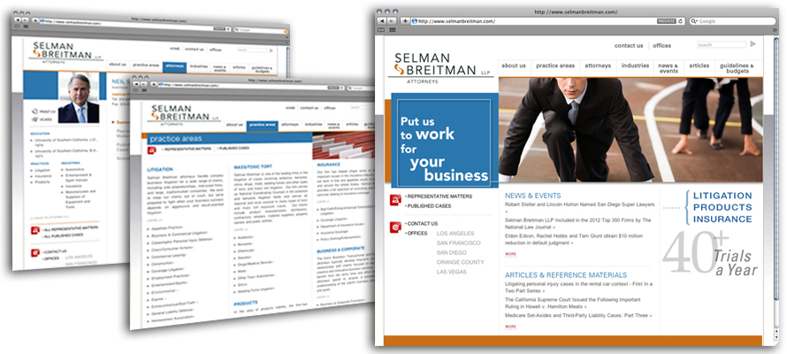 Law firm web design, development, seo and content management for Selman Breitman LLP