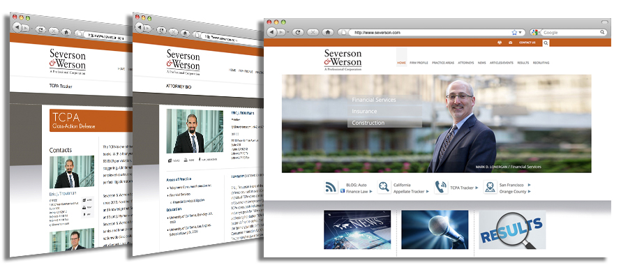 Law firm web design, development, seo and content management for Severson & Werson