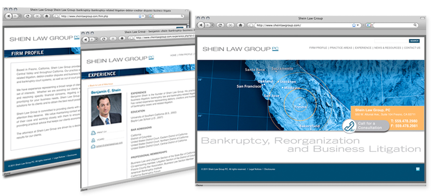Law firm web design, development, seo and content management for Shein Law Group