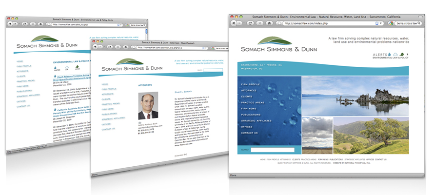 Law firm web design, development, seo and content management for Somach Simmons & Dunn