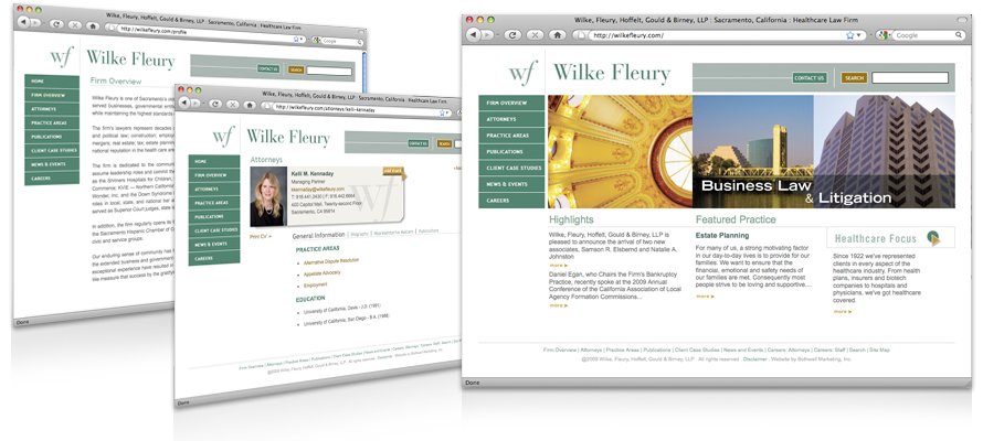 Law firm web design, development, seo and content management for Wilke Fleury Hoffelt Gould